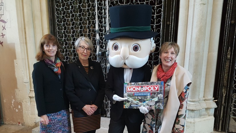 Heritage Open Days Nicky Gottlieb, Laraine Roe (competition winner), Mr Monopoly and Becky Brown